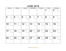 printable june calendar 2018 check boxes