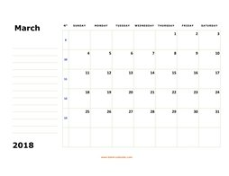 printable march calendar 2018 large box space notes