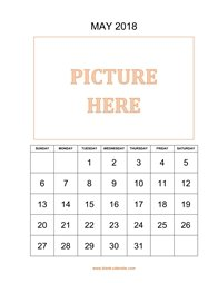 printable may 2018 calendar, pictures can be placed at the top