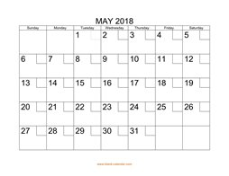 printable may 2018 calendar check boxes