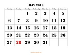 printable may 2018 calendar larger font