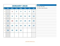 printable calendar 2018 large space appointment notes