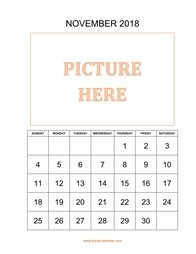 printable november 2018 calendar, pictures can be placed at the top