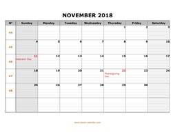 printable november 2018 calendar large box grid, space for notes