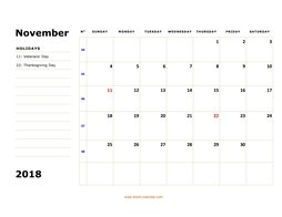 printable november 2018 calendar, large box, space for notes