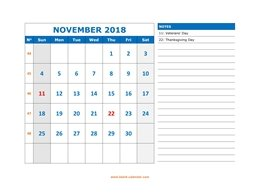 Printable November 2018 Calendar, large space for appointment and notes (horizontal)