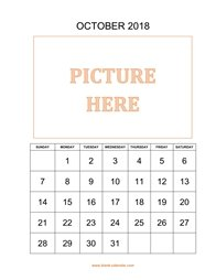 printable october calendar 2018 add picture