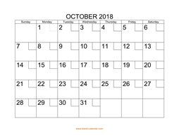 printable october 2018 calendar check boxes