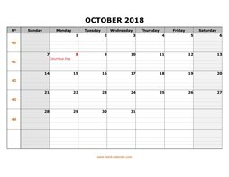 Printable October 2018 Calendar, large box grid, space for notes (horizontal)