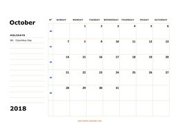 printable october calendar 2018 large box space notes