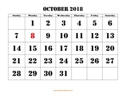printable october calendar 2018 large font