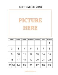 printable september 2018 calendar, pictures can be placed at the top