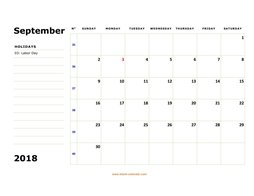 printable september 2018 calendar, large box, space for notes