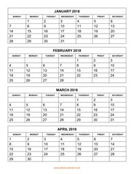 2018 printable yearly calendar