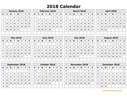 printable calendar 2018 clean design yearly planner one page horizontal