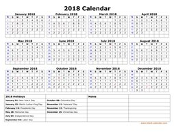 Free Download Printable Calendar 2018 with check boxes