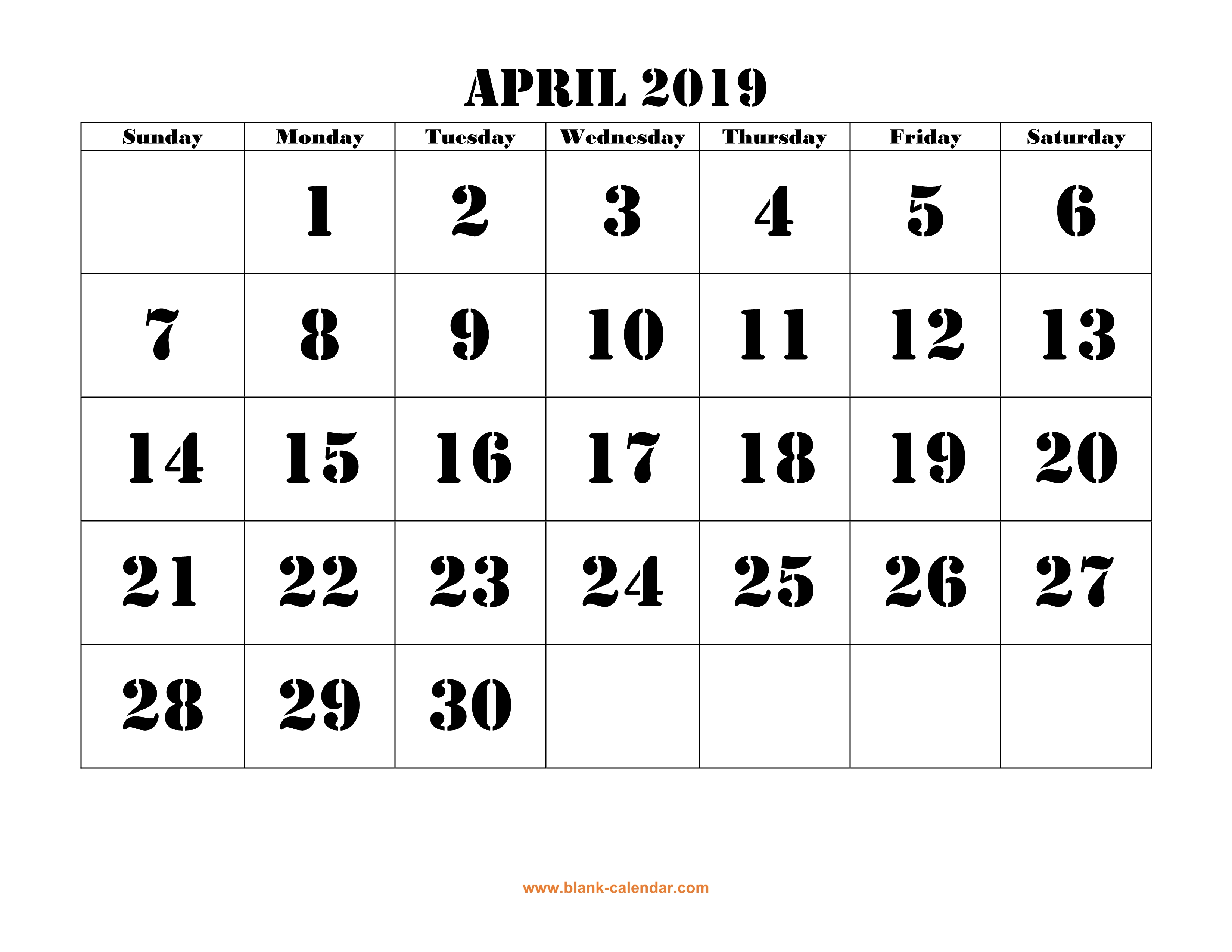 photo relating to Printable Calendar April identify April 2019 Printable Calendar Absolutely free Obtain Regular