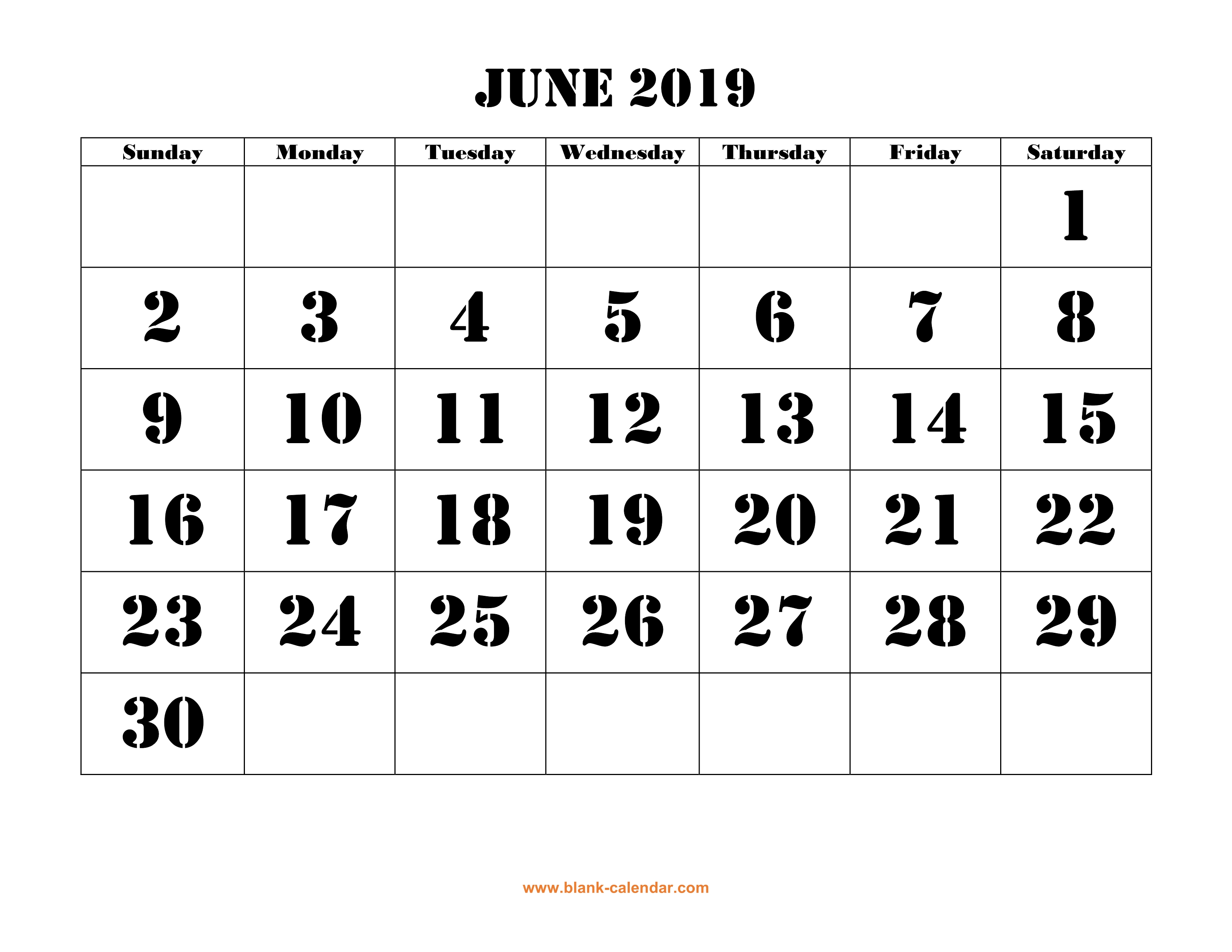 Free Download Printable June 2019 Calendar, large font ...