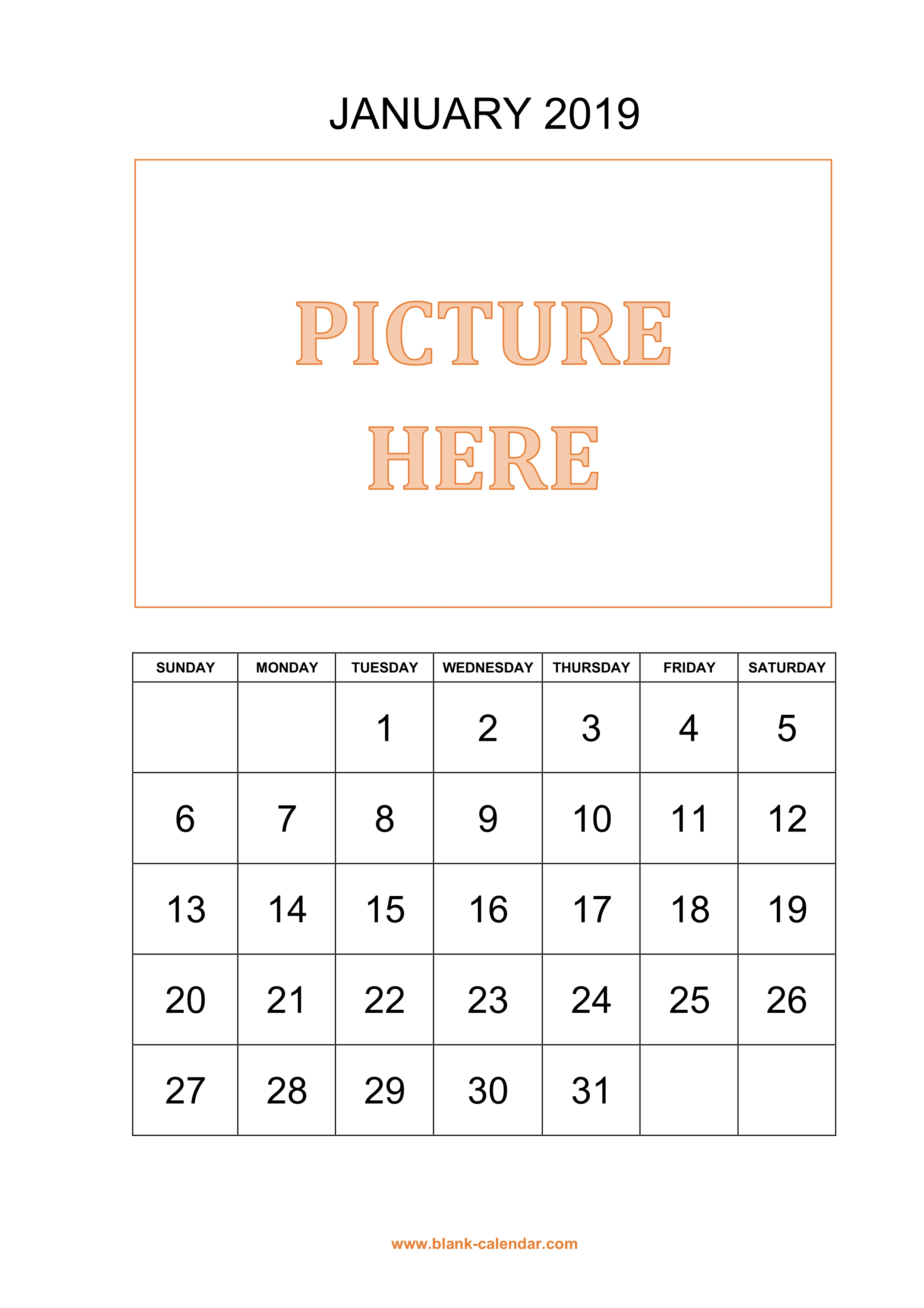 Free Download Printable Calendar 2019 Pictures Can Be Placed At The Top