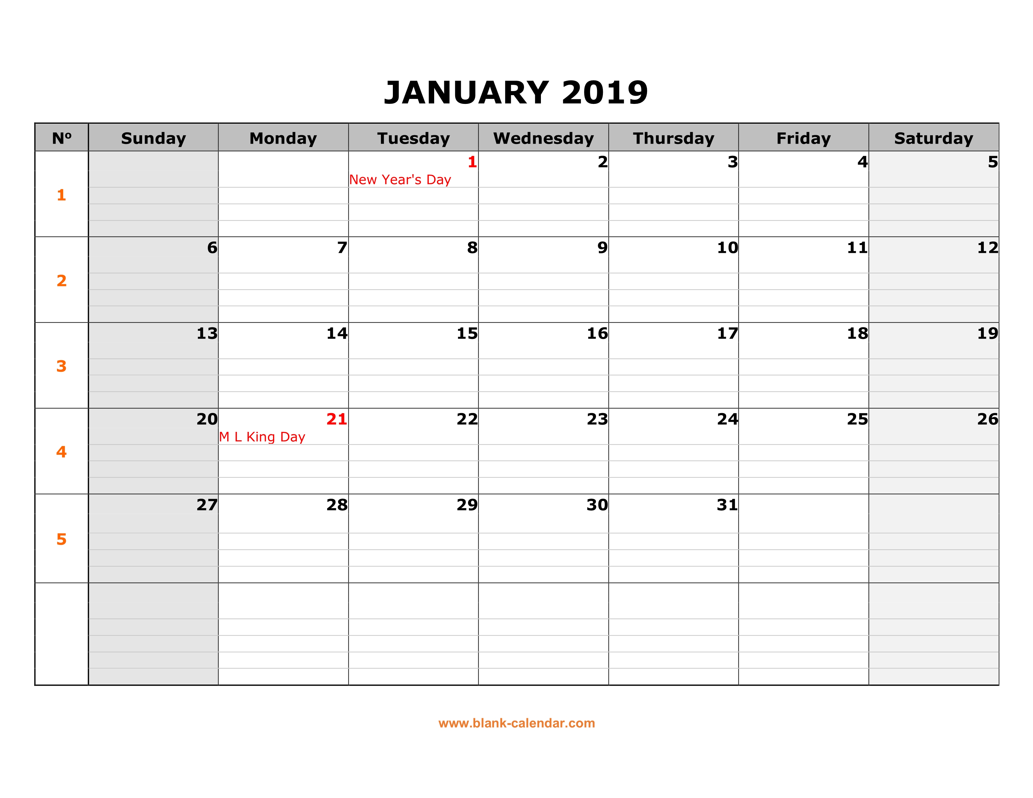 printable calendar 2019 large box grid space for notes one month per page