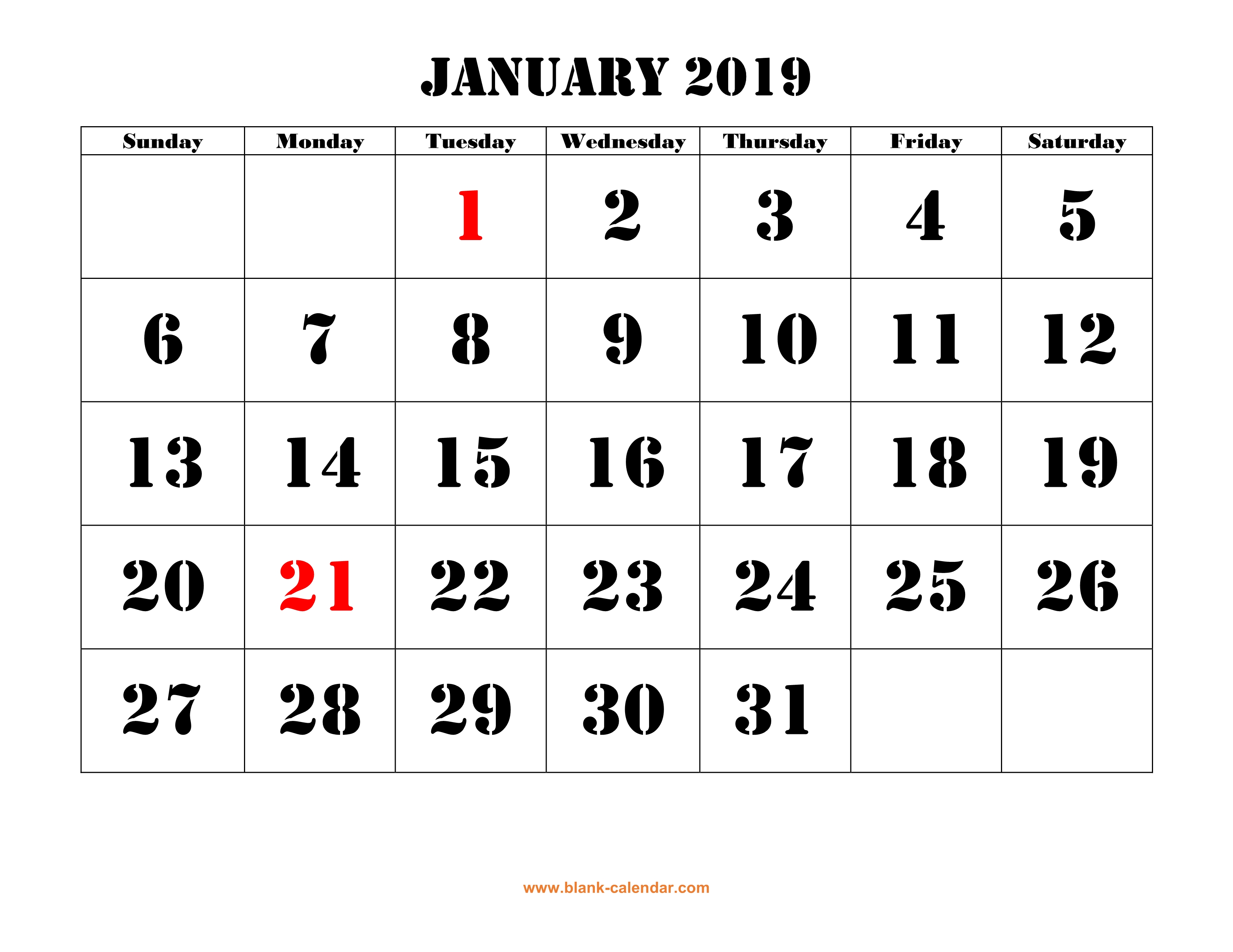 printable calendar 2019 large font design holidays on red one month per page