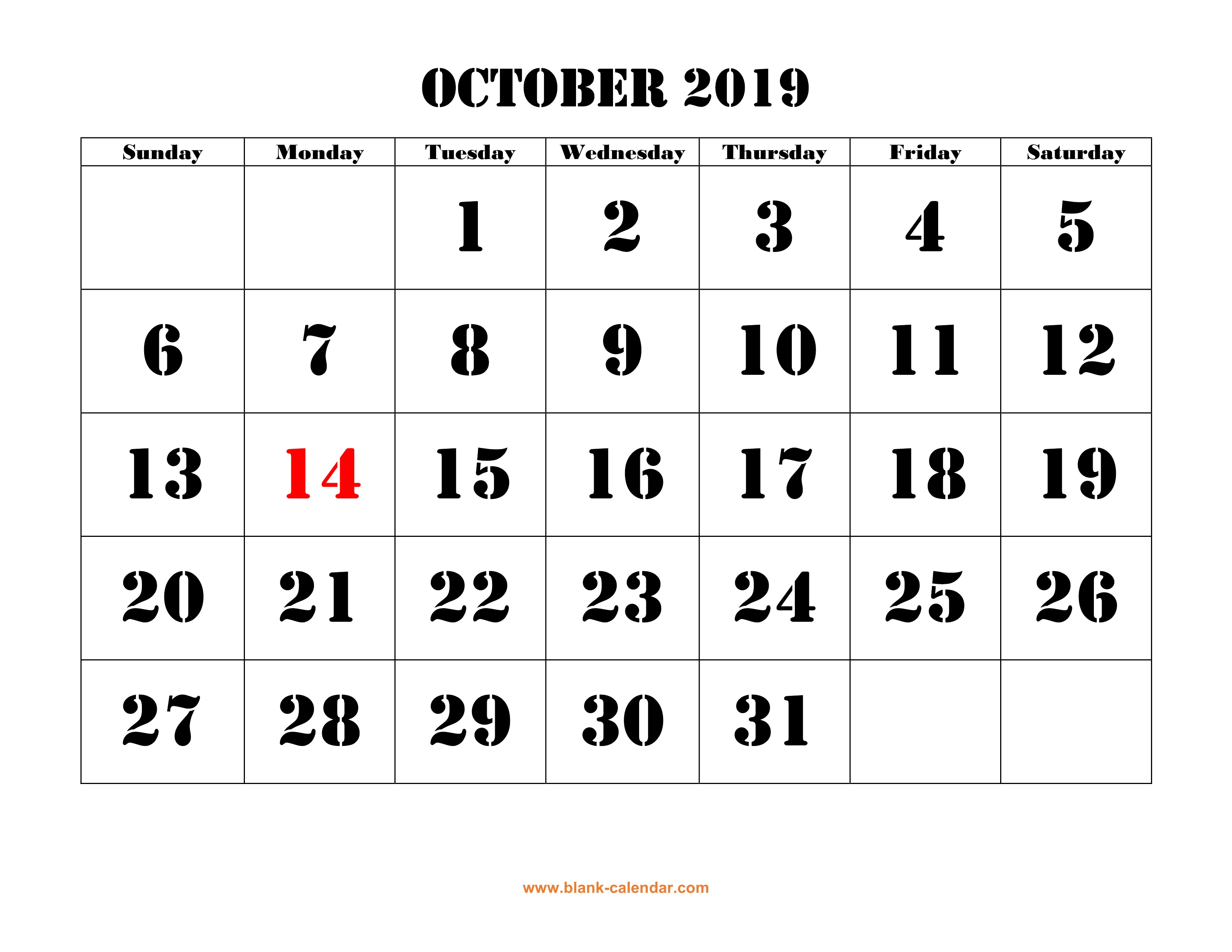 graphic relating to Printable Oct. Calendar called Oct 2019 Printable Calendar Absolutely free Obtain Every month