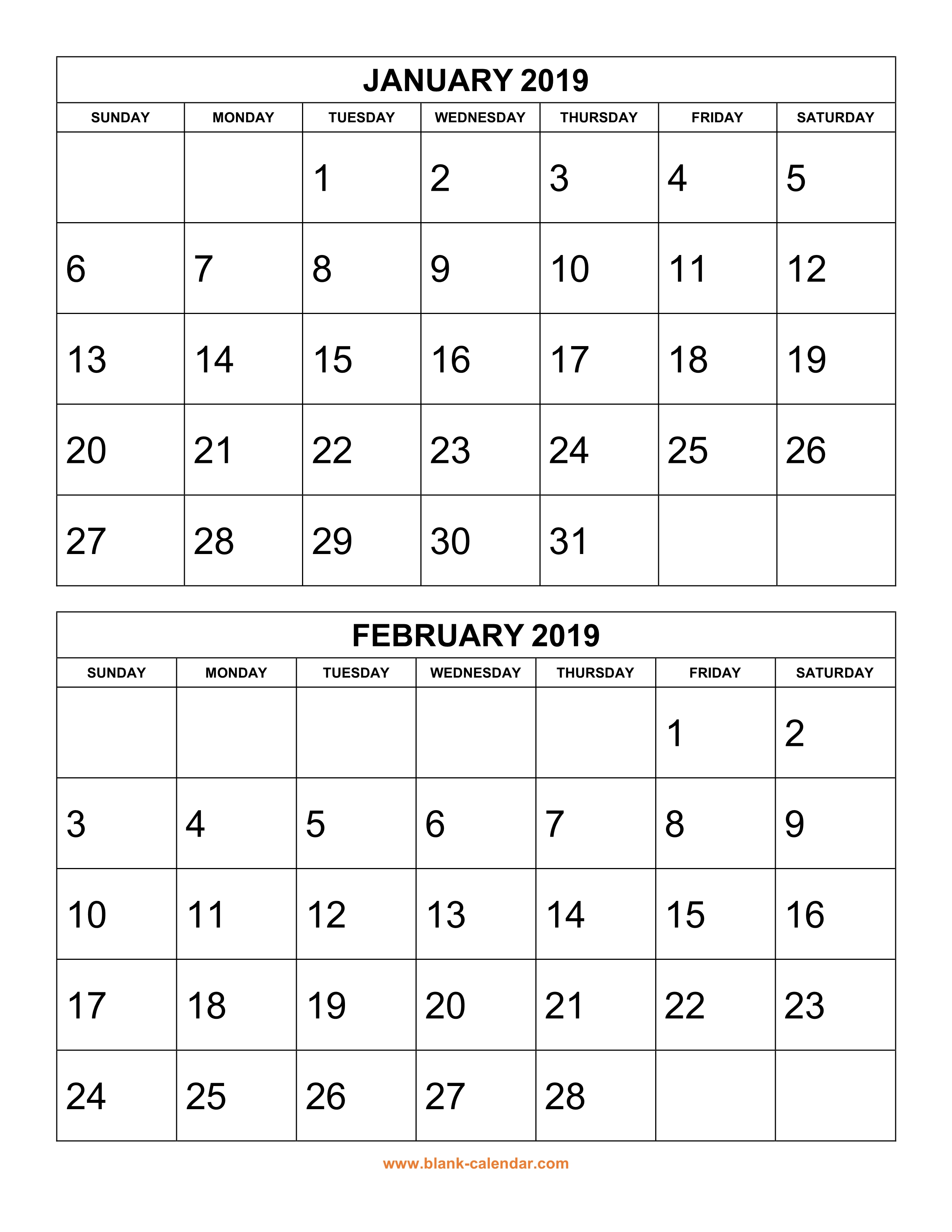 free download printable calendar 2019 2 months per page 6 pages vertical