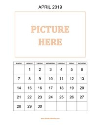 printable april calendar 2019 add picture