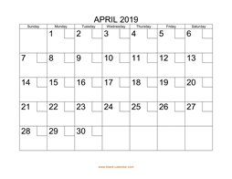 Printable April 2019 Calendar with check boxes (horizontal)