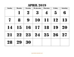 printable april calendar 2019 large font