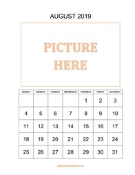 printable august calendar 2019 add picture