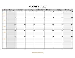 printable august calendar 2019 large box grid