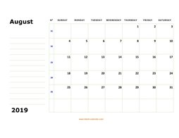 printable august calendar 2019 large box space notes