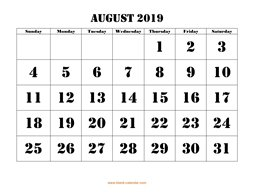 Printable August 2019 Calendar, large font design , holidays on red (horizontal)