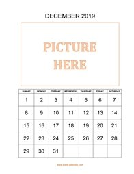 printable december 2019 calendar, pictures can be placed at the top
