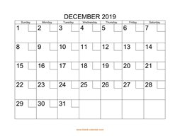 printable december calendar 2019 check boxes