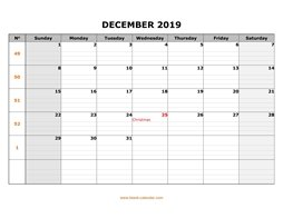 printable december calendar 2019 large box grid