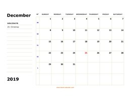 printable december 2019 calendar, large box, space for notes