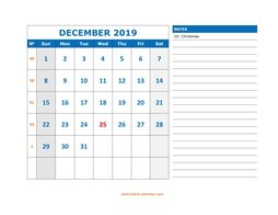 Printable December 2019 Calendar, large space for appointment and notes (horizontal)