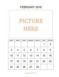 printable february calendar 2019 add picture