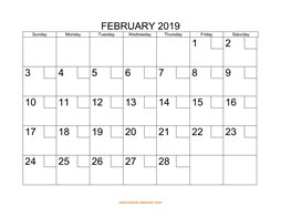 printable february 2019 calendar check boxes