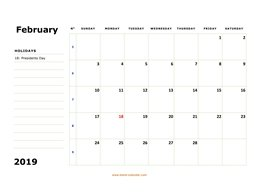 printable february calendar 2019 large box space notes