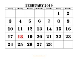 printable february calendar 2019 large font