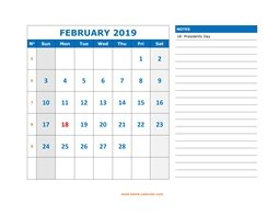 printable february calendar 2019 large space appointment notes