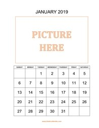 printable january 2019 calendar, pictures can be placed at the top