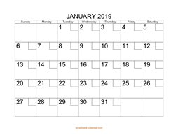 Free Download Printable January 2019 Calendar Large Box Holidays