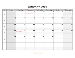 printable january 2019 calendar large box grid, space for notes