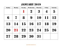 January 2019 Printable Calendar Free Download Monthly Calendar