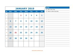 Printable January 2019 Calendar, large space for appointment and notes (horizontal)