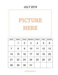 printable july 2019 calendar, pictures can be placed at the top